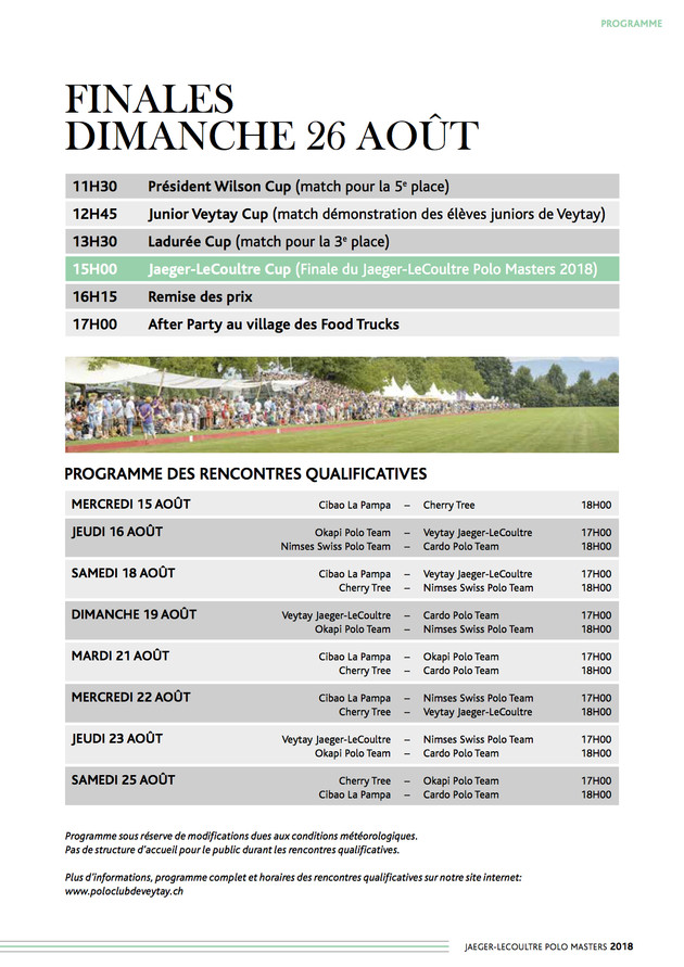 JLC Polo Masters 2018_Schedule